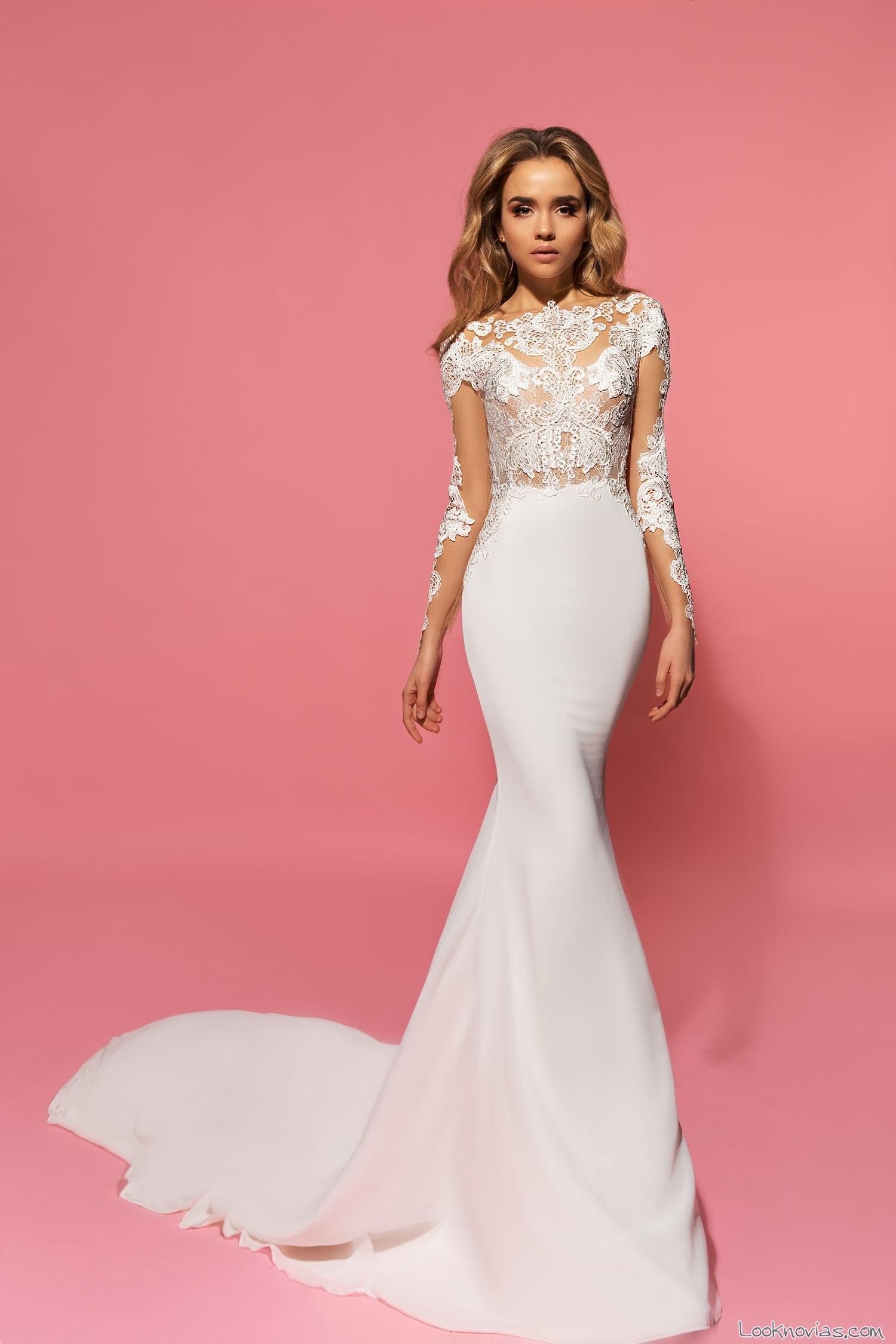 vestido recto con mangas para novias