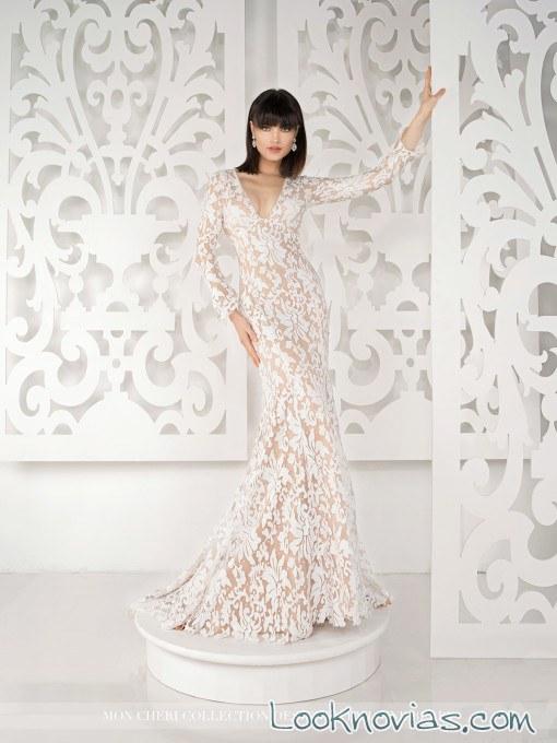 vestido recto de bordados por mon cheri