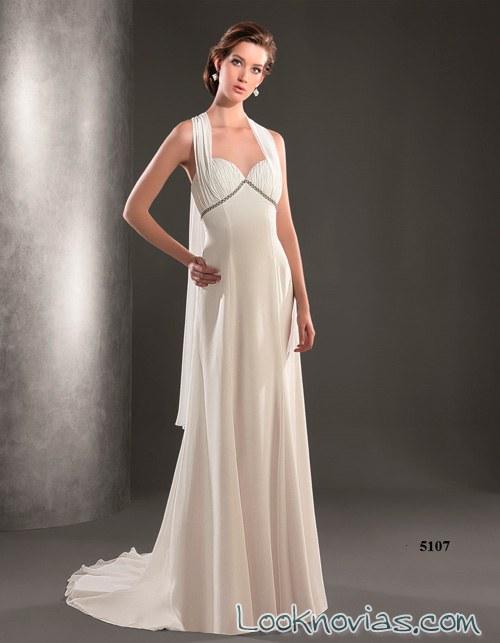 vestido recto de corte griego lugo novias