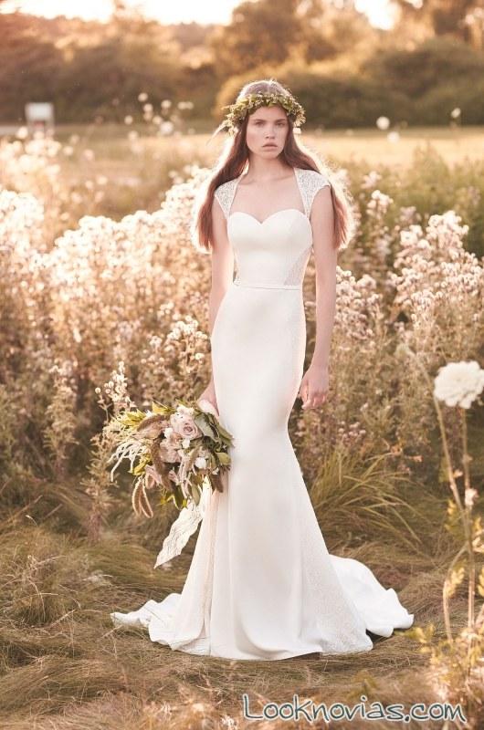 vestido recto de mikaella bridal con tirantes anchos