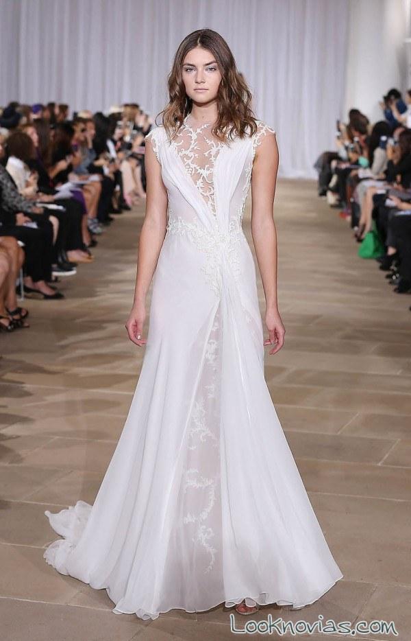 vestido recto de novia combinado ines di santo