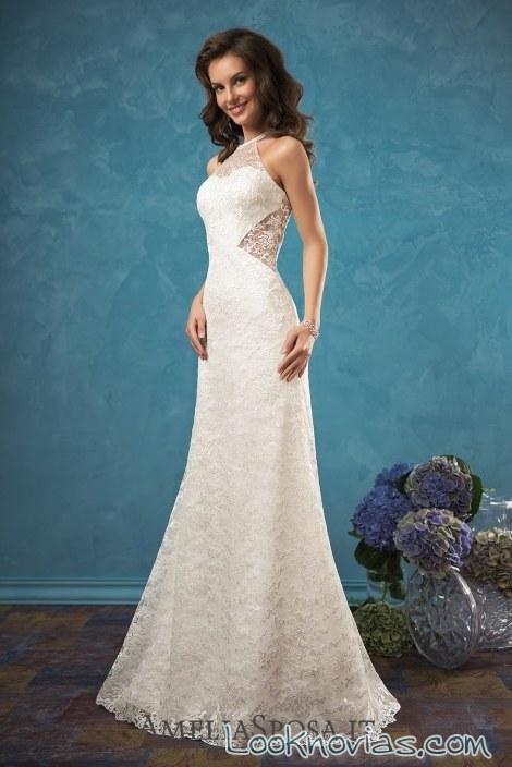vestido recto de novia con aberturas laterales