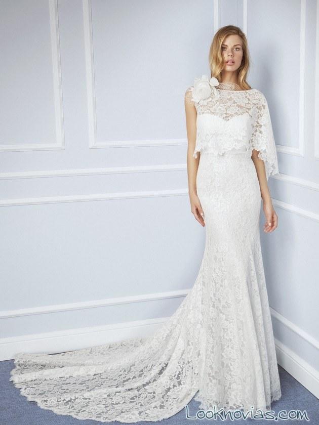vestido recto de novia con capa