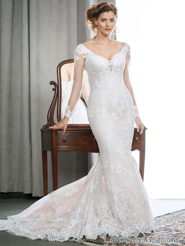vestido recto de novia con escote kenneth winston