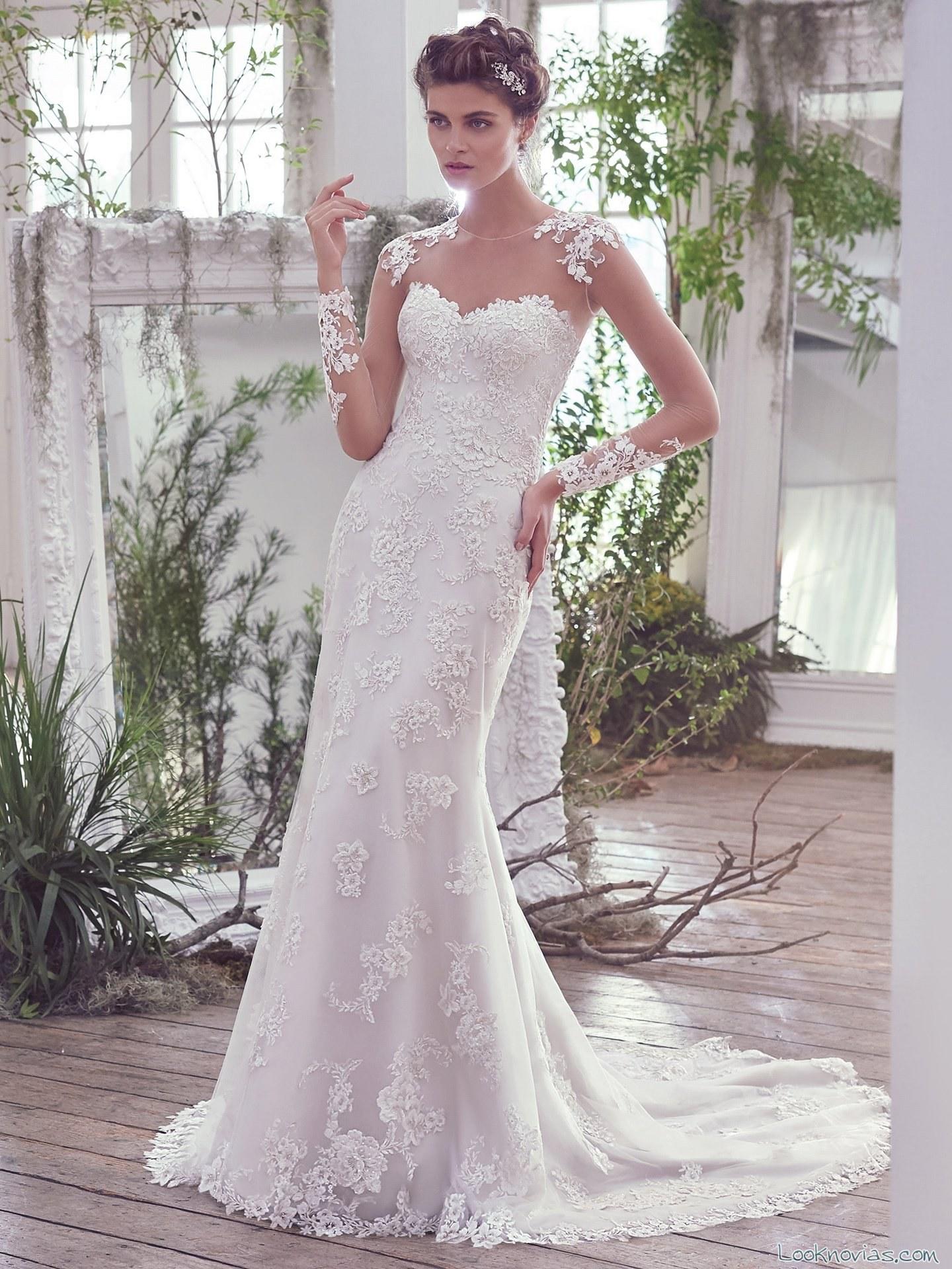 vestido recto de novia maggie sottero 2016