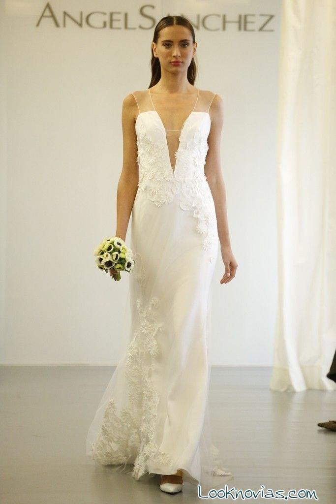 vestido recto de novia por angel sanchez