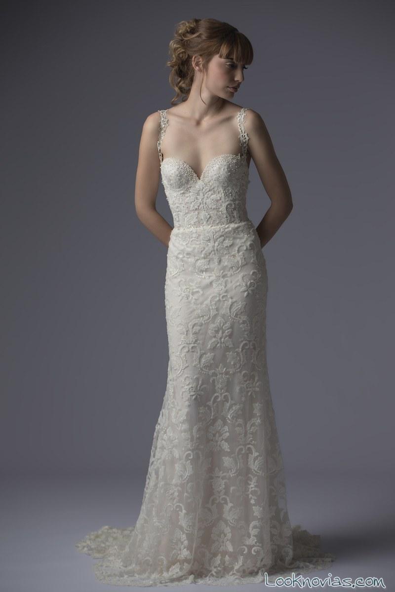 vestido recto de novia por francesca miranda