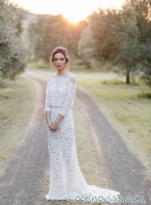 vestido recto de novias encajes