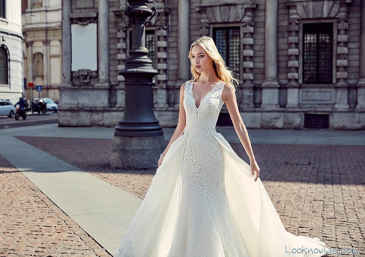 vestido recto doble falda novias eddy k
