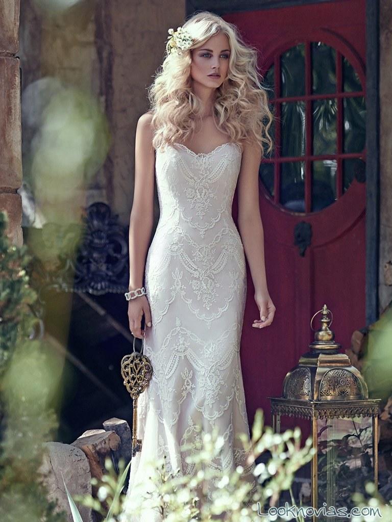 vestido recto en blanco maggie sottero