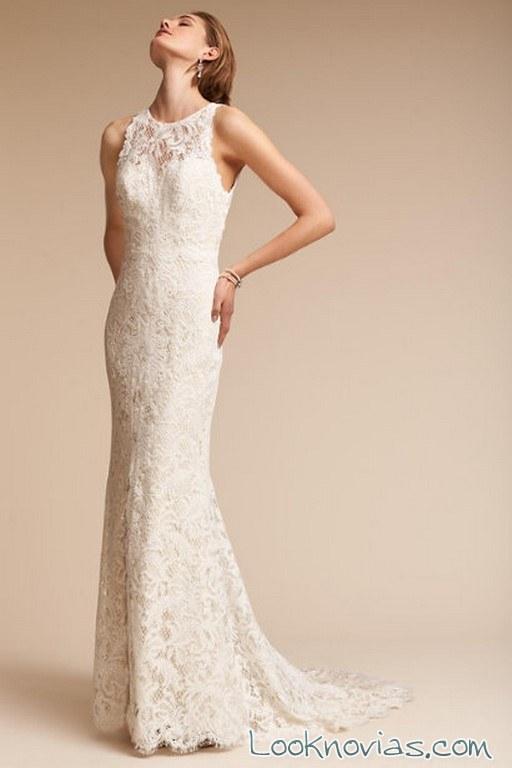 vestido recto encajes BHLDN blanco