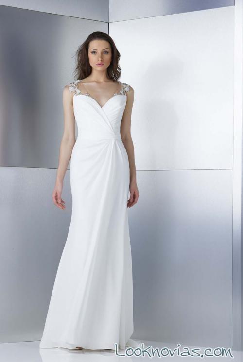 vestido recto liso con tirantes para novias gemy maalouf