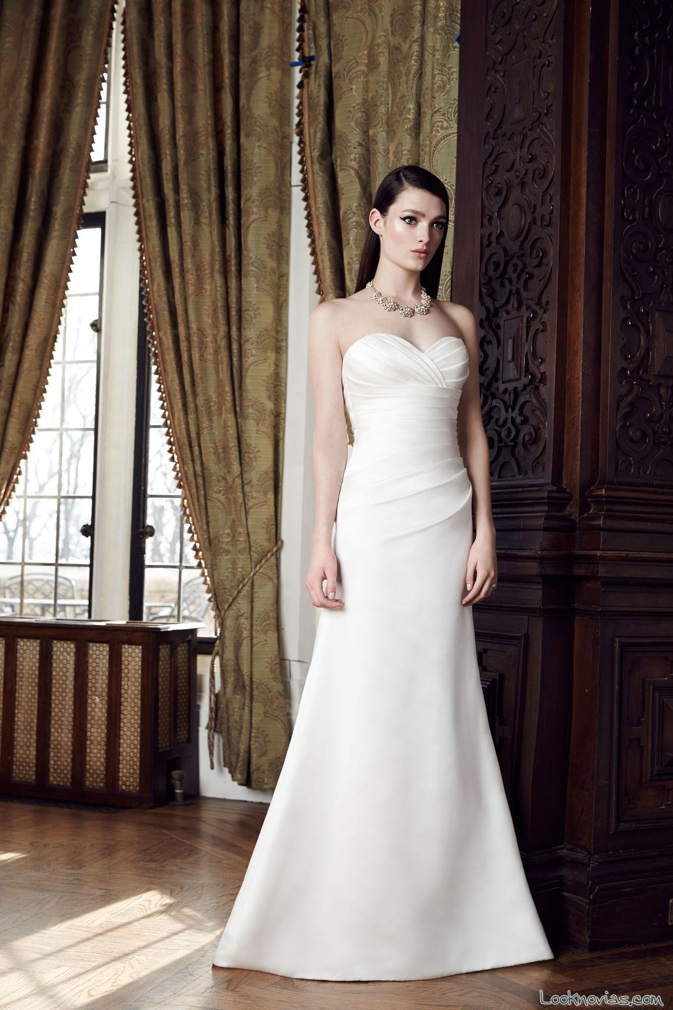 vestido recto mikaella bridal con drapeados