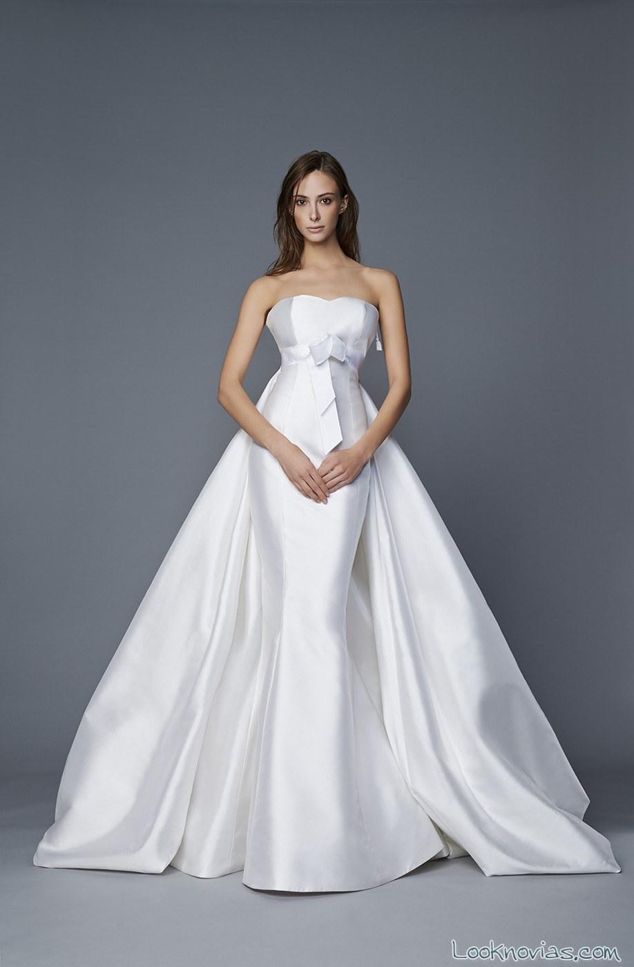 vestido recto novia doble falda