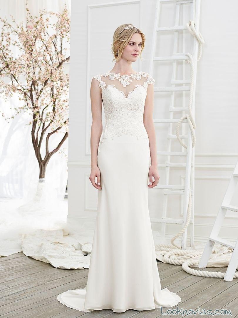 vestido recto novia escote encaje beloved