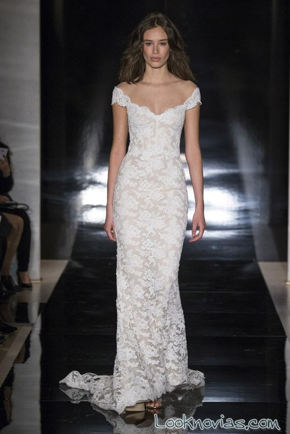 vestido recto novias bordado reem acra