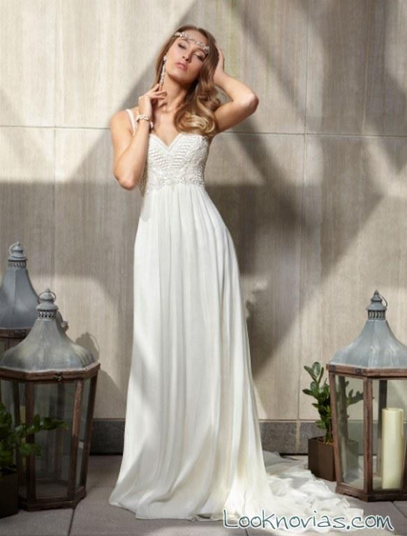 vestido recto novias en color blanco victor harper