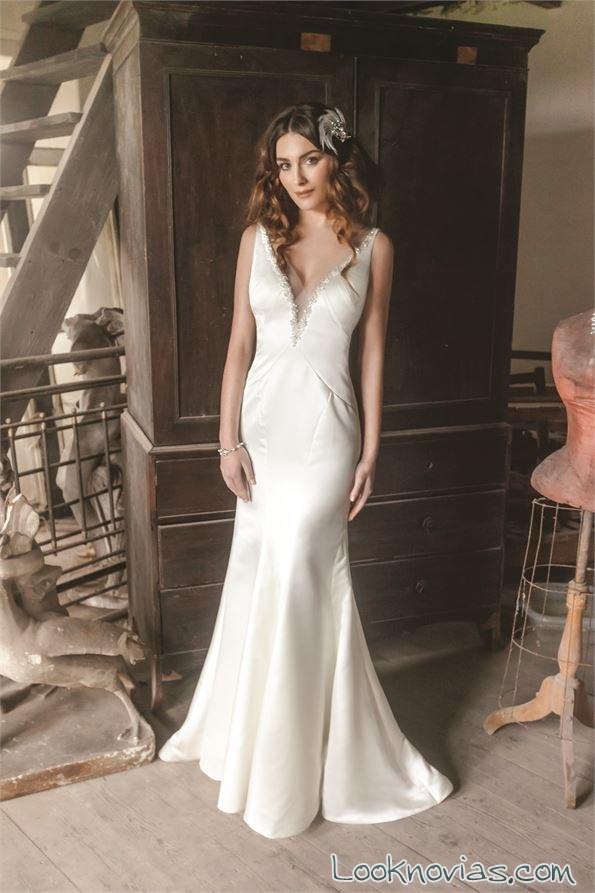 vestido recto novias satinado