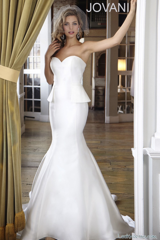 vestido recto peplum jovani