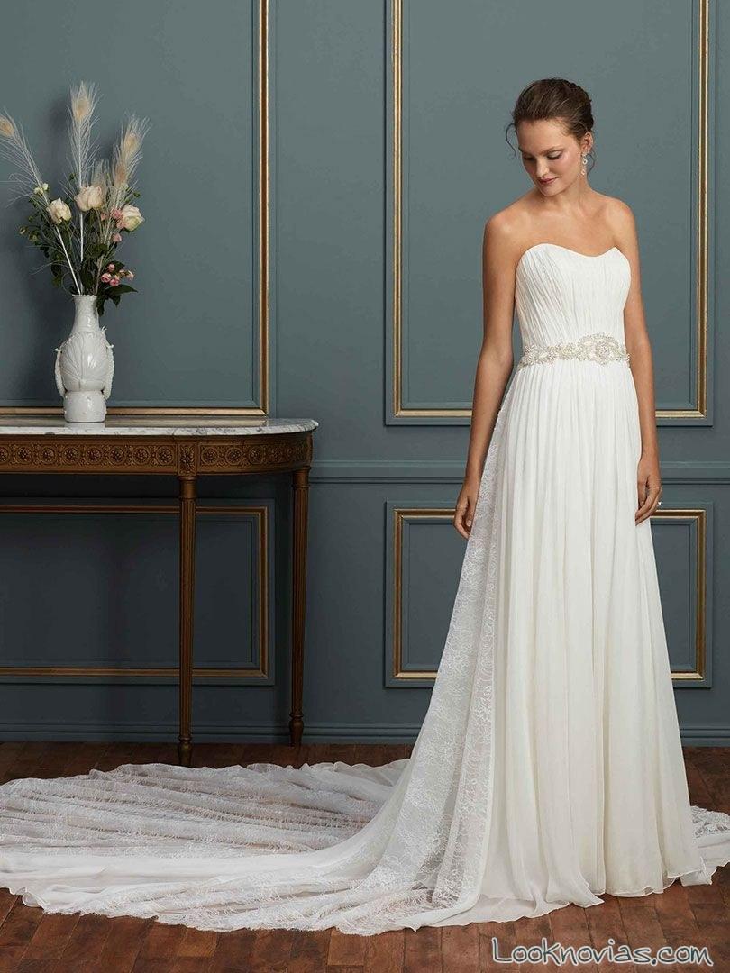 vestido recto plisado novias amare couture