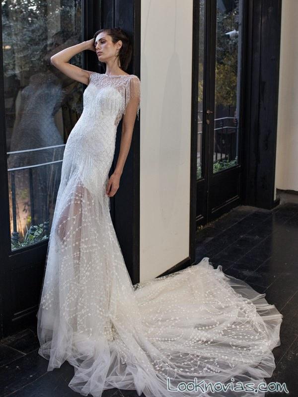 vestido recto riki dalal con transparencias
