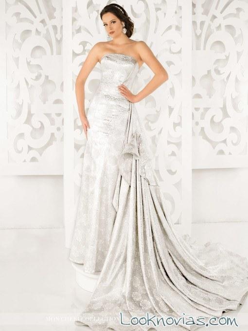 vestido recto satinado de mon cheri