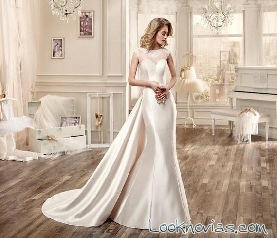 vestido recto satinado de nicole sposa