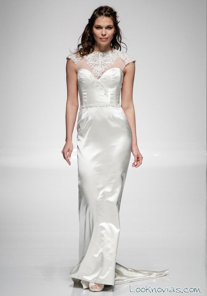 vestido recto satinado para novia
