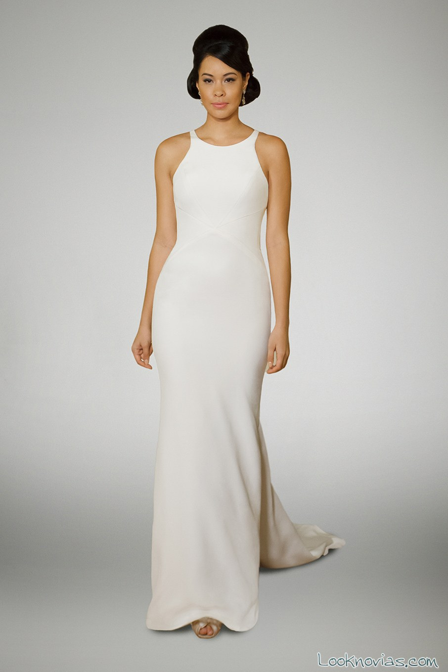 vestido recto sencillo de novia matthew christopher