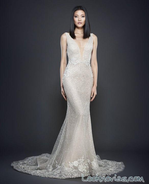 vestido recto sirena en color blanco pedrería