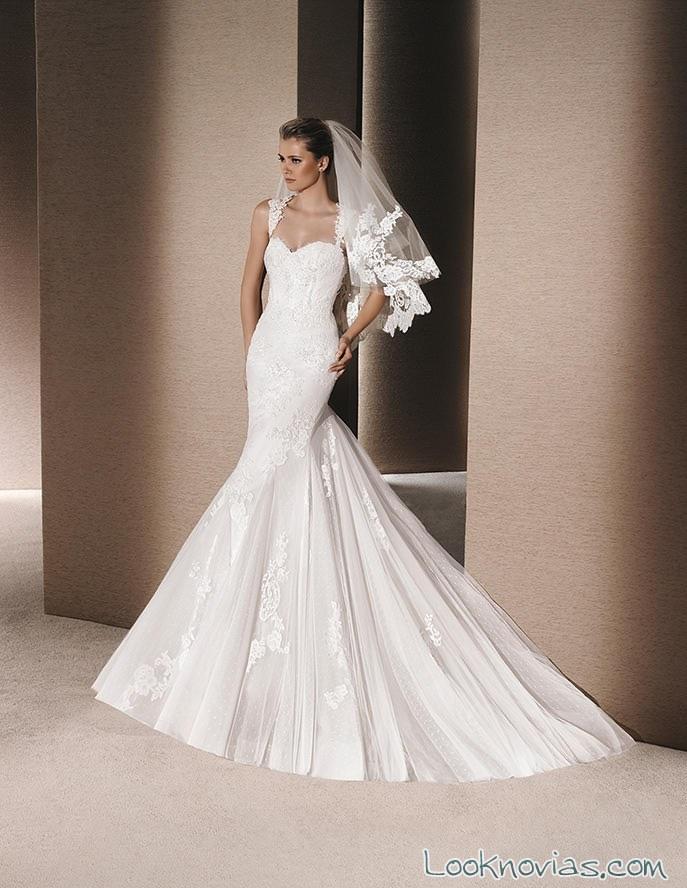 vestido recto sirena sposa con tirantes