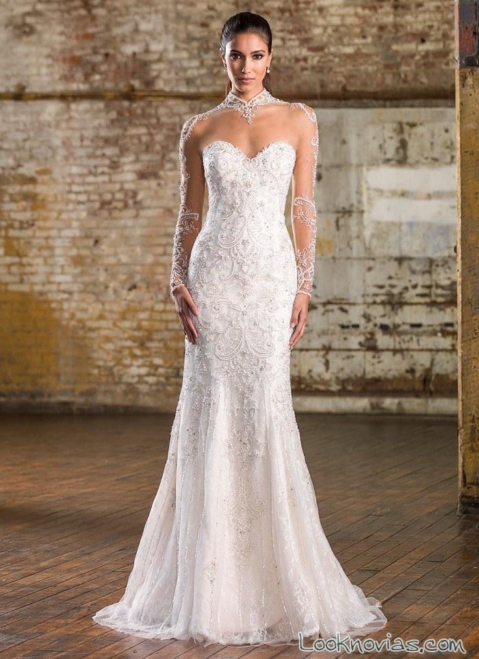 vestido recto strapless novia signature