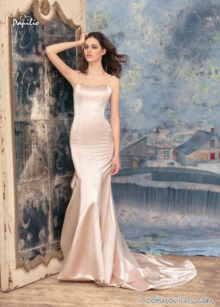vestido recto tejido satinado papilio