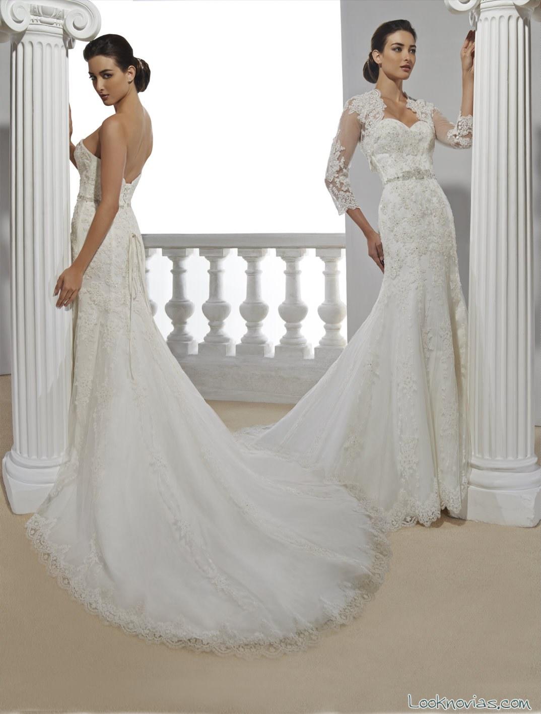 vestido recto y elegante para novias 2016