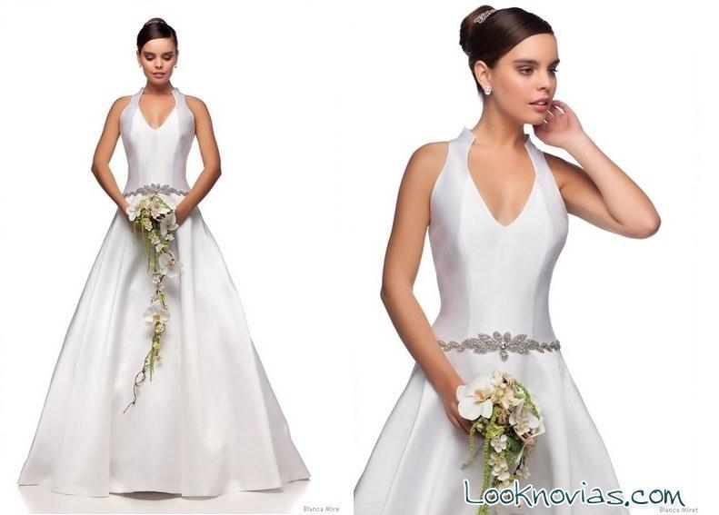 vestido satinado blanca miret