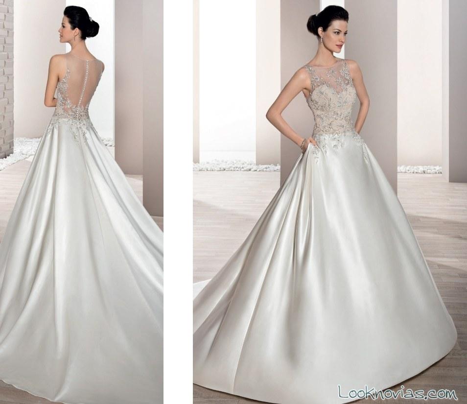 vestido satinado de novia con escote fantasía
