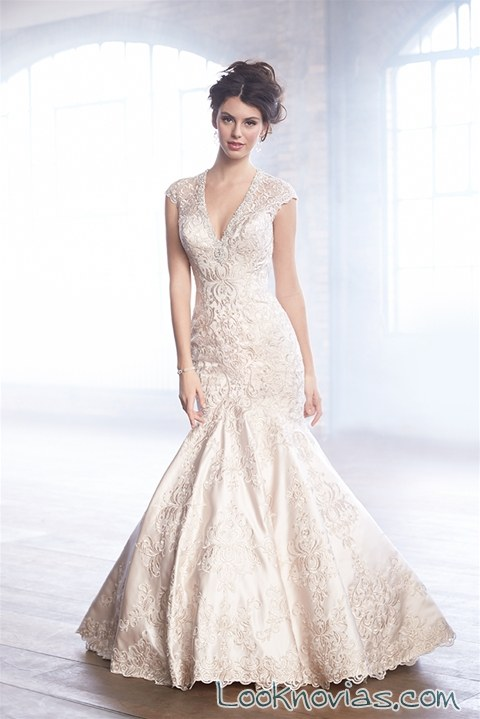 vestido satinado de novia madison james