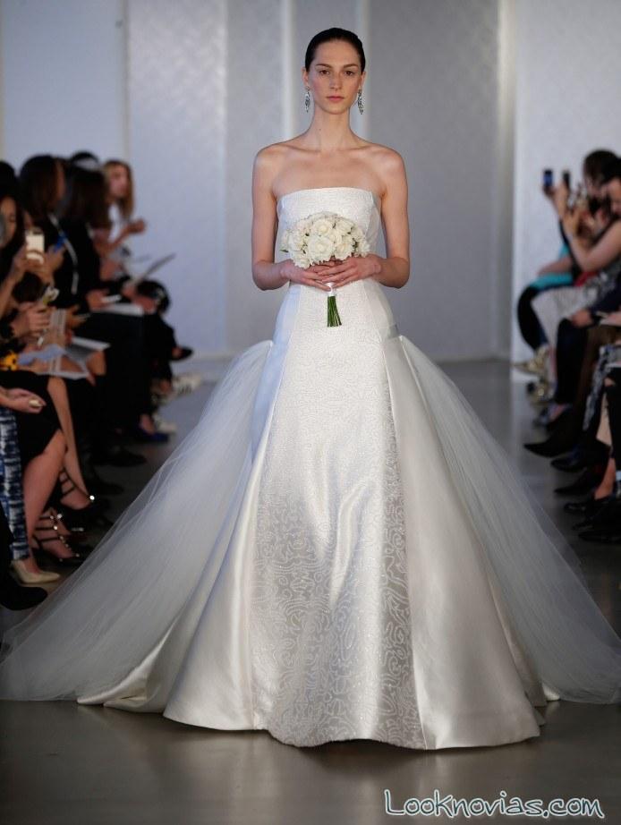 vestido satinado novias oscar de la renta