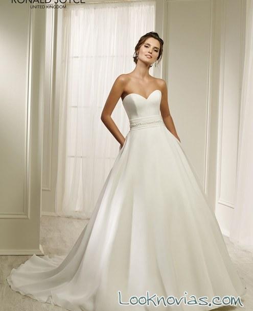 vestido sencillo blanco para novias 2017