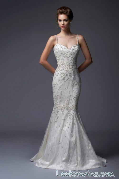 vestido sirena blanco enaura bridal 2017