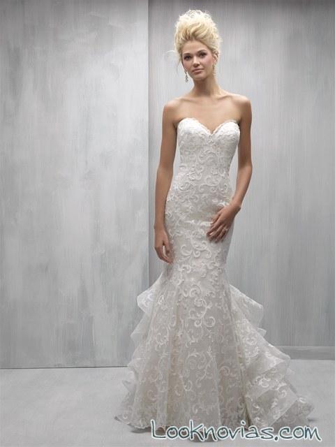 vestido sirena cola rizada novias madison