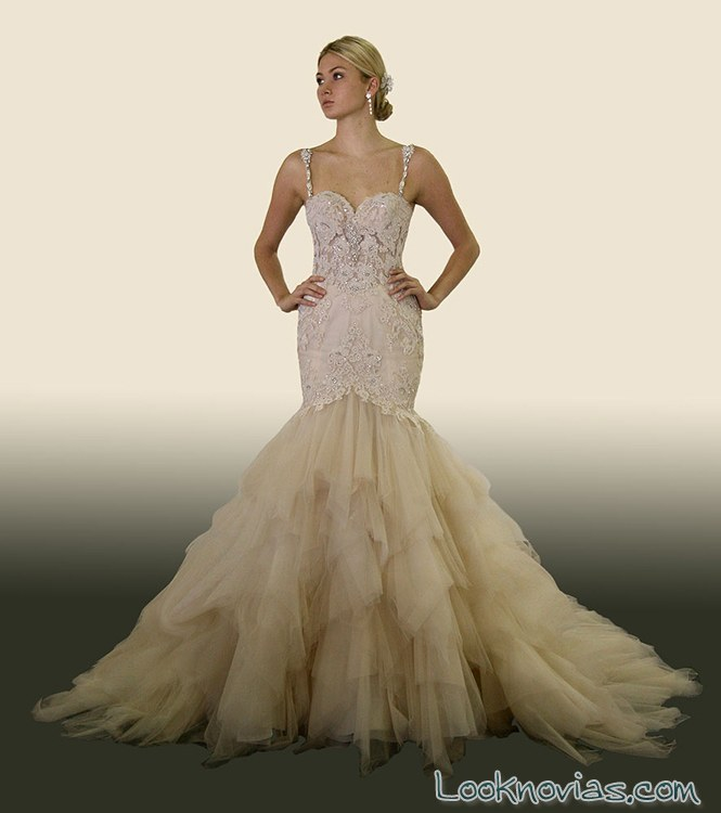 vestido sirena con falda de tul para novia