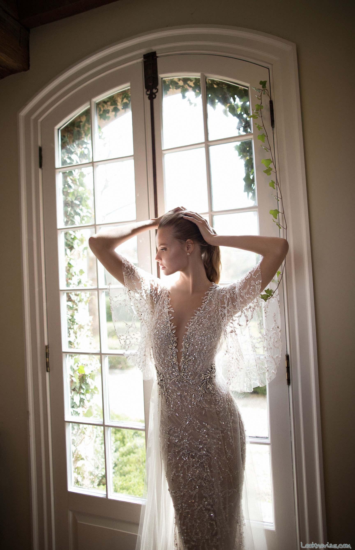 vestido sirena con mangas flojas para novias 2017
