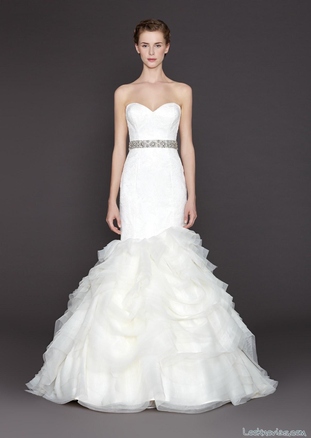 vestido sirena con volantes de winnie bridal