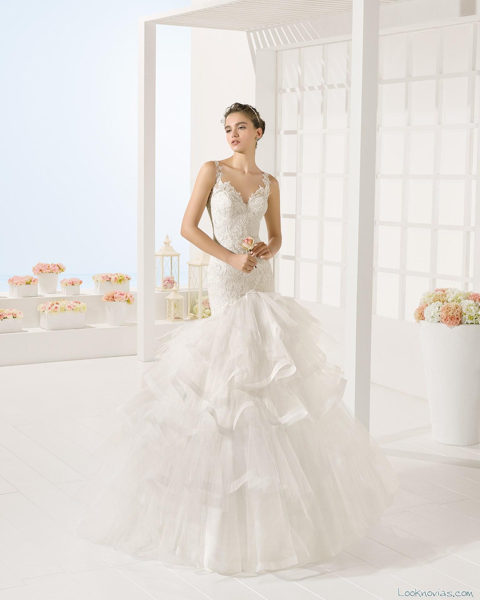 vestido sirena con volantes luna novias