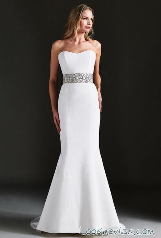 vestido sirena de novia con cinturón ancho