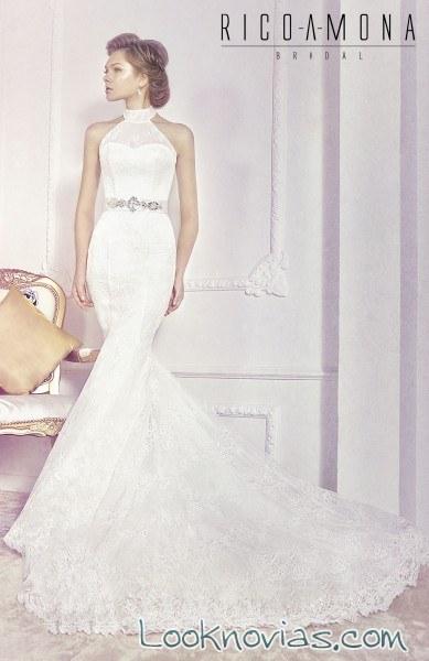 vestido sirena de novia con escote halter