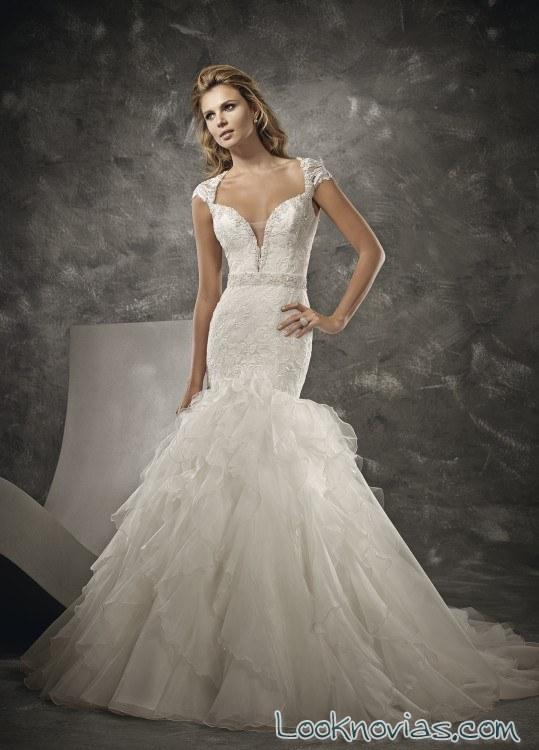 vestido sirena de novia con manga corta