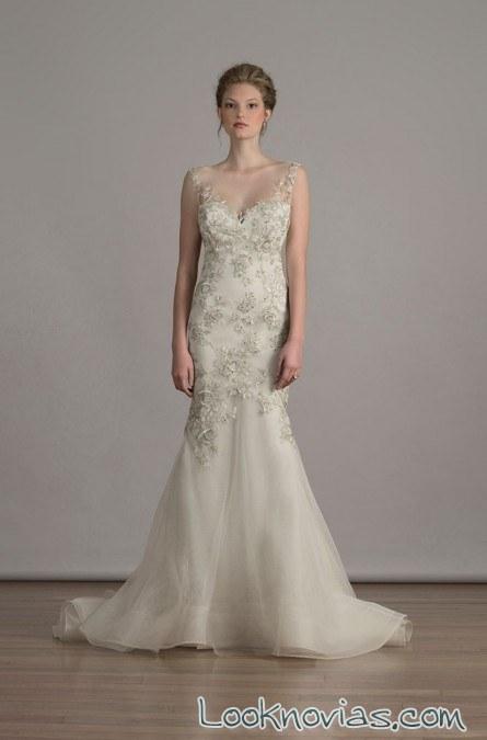 vestido sirena de novia en champagne