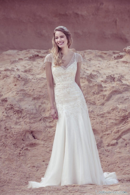 vestido sirena ellis bridal 2017 blanco